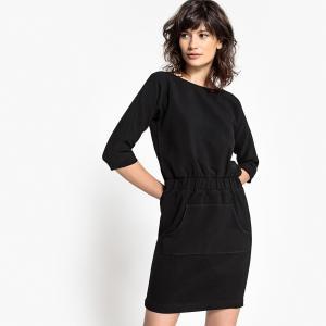 Платье прямое однотонное средней длины, с рукавами 3/4 SCHOOL RAG. Цвет: хаки,черный