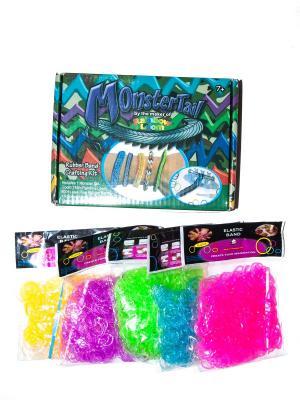 Резинки для плетения и причесок Bizon. Цвет: прозрачный, желтый, салатовый, голубой, малиновый, фиолетовый