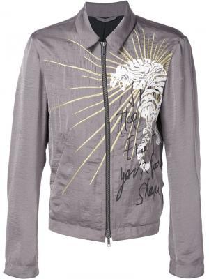 Куртка на молнии с вышивкой Haider Ackermann. Цвет: серый