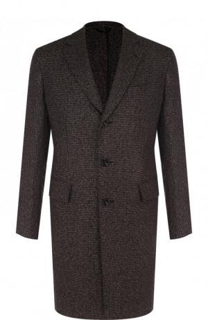 Однобортное пальто из кашемира Brioni. Цвет: коричневый