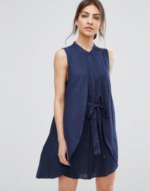 Urban Bliss Платье с поясом Ash. Цвет: синий