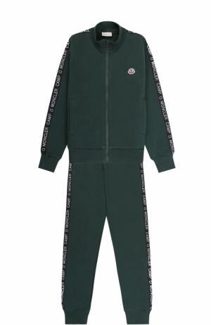Спортивный костюм из хлопка с контрастной отделкой Moncler Enfant. Цвет: темно-зеленый