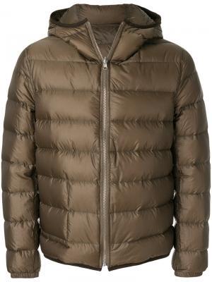 Классическая куртка-пуховик Ten-C. Цвет: зелёный