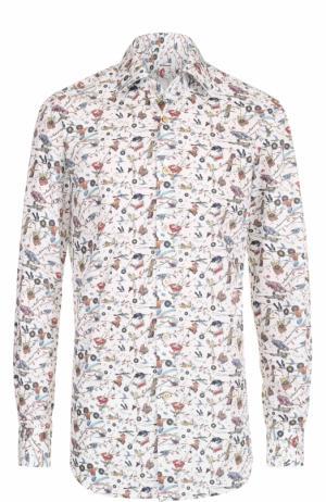 Хлопковая рубашка с принтом Kiton. Цвет: белый