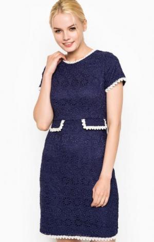 Синее платье с контрастной отделкой Darling. Цвет: синий