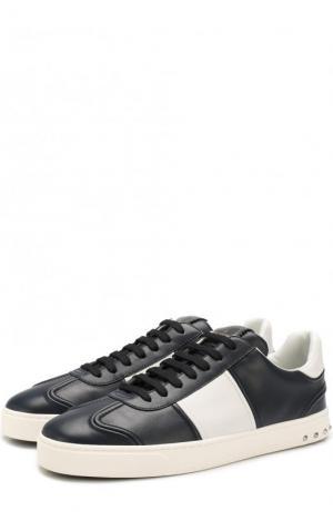 Кожаные кеды  Garavani Flycrew на шнуровке Valentino. Цвет: темно-синий