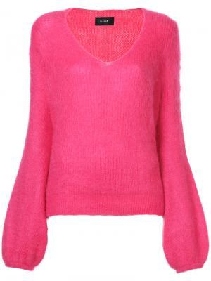 Свитер с V-образным вырезом и расклешенными рукавами G.V.G.V.. Цвет: розовый и фиолетовый