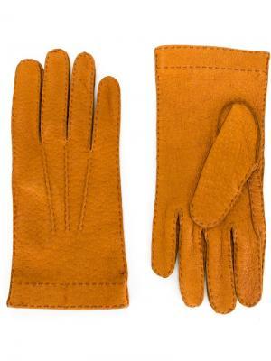 Перчатки с контрастной окантовкой Restelli. Цвет: коричневый