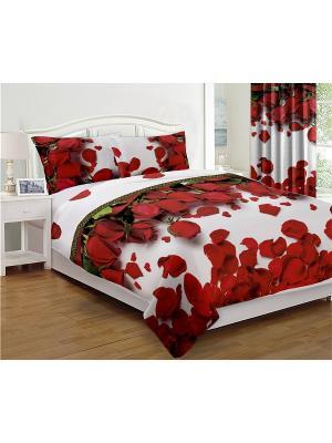 Комплект покрывало стеганное Алая роза 200*220 + подушка в подарок МарТекс. Цвет: зеленый, белый, красный