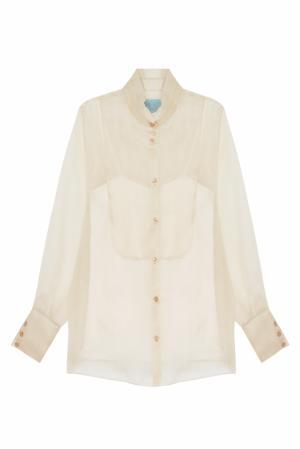 Полупрозрачная блузка MoS. Цвет: карамельный