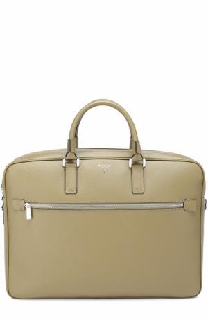 Кожаная сумка для ноутбука с плечевым ремнем Serapian. Цвет: оливковый