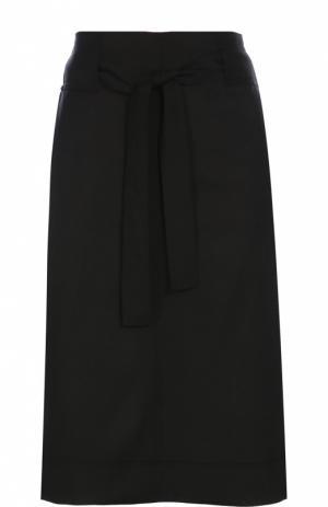 Шерстяная юбка прямого кроя с поясом Isabel Marant Etoile. Цвет: черный