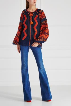 Льняная блузка Mina Vita Kin. Цвет: синий, красный