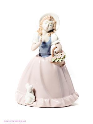 Фигурка Девочка с корзинкой Pavone. Цвет: бледно-розовый