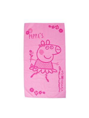 Полотенце махровое Пеппа Балерина Свинка. Цвет: розовый