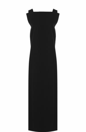 Шерстяное платье-макси без рукавов Yohji Yamamoto. Цвет: черный