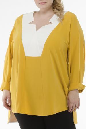 Блуза EVA Collection. Цвет: желто-белый