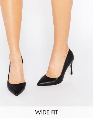 Faith Wide Fit Черные широкие туфли-лодочки с вырезами. Цвет: черный