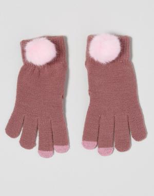7X Перчатки из искусственного меха для сенсорного экрана. Цвет: розовый