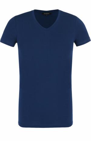 Хлопковая футболка с V-образным вырезом Ermenegildo Zegna. Цвет: синий