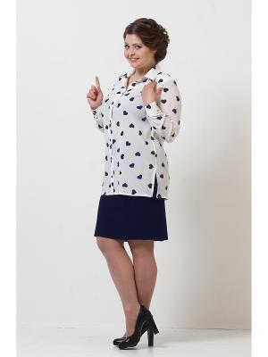 Блузка Lina. Цвет: белый, синий