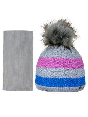 Шапка и шарф Grans. Цвет: серый, голубой, розовый