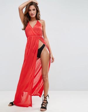 ASOS Пляжное трикотажное платье макси с глубоким вырезом. Цвет: красный