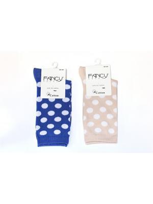 Женские носки 2 пары Fancy socks by Oztas. Цвет: синий, светло-бежевый, серо-голубой