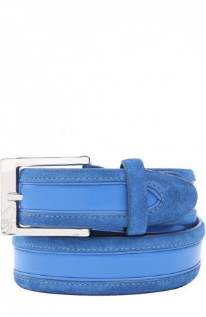Кожаный ремень с логотипом бренда на пряжке Brioni. Цвет: синий