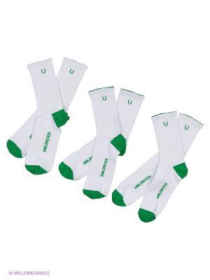 Носки спортивные 3 пары Unlimited. Цвет: белый, зеленый