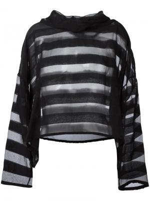 Объемная прозрачная блузка в полоску Ivan Grundahl. Цвет: чёрный