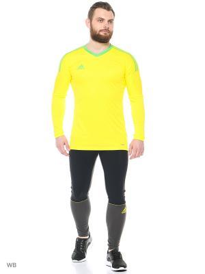 Бесшовная футболка Adidas. Цвет: желтый