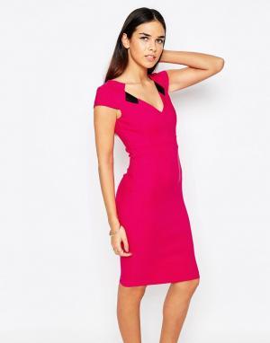 Vesper Платье-футляр с V‑образным вырезом Mabel. Цвет: розовый