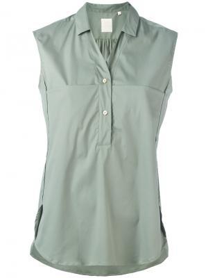 Блузка без рукавов с пуговицами Xacus. Цвет: зелёный
