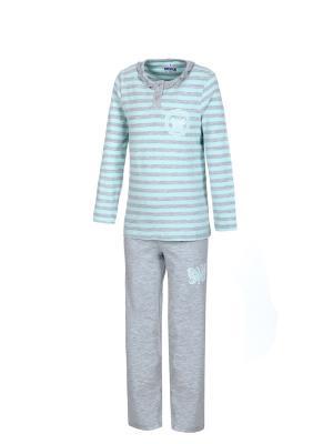Пижама BAYKAR. Цвет: голубой, серый меланж