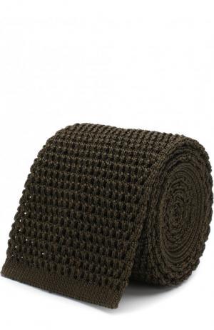 Шелковый вязаный галстук Tom Ford. Цвет: хаки
