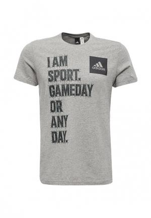 Футболка adidas Performance. Цвет: серый