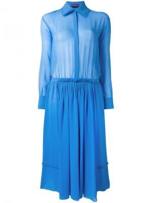 Платье-рубашка со складками Rochas. Цвет: синий