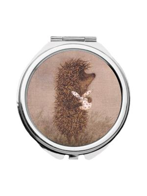 Зеркальце карманное Ежик с котомкой Chocopony. Цвет: коричневый, темно-бежевый