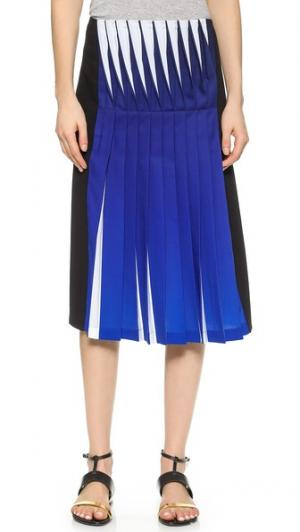 Плиссированная юбка с эффектом объемного изображения Dion Lee. Цвет: кобальтовый/черный