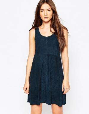 Muubaa Кожаное платье с драпировкой Beaulieu. Цвет: синий