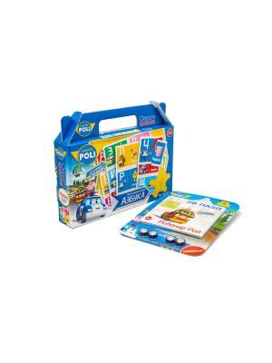Настольная игра в чемоданчике Робокар Поли Азбука с 3D пазлом-конструктором комплекте. Robocar Poli. Цвет: синий, зеленый, розовый