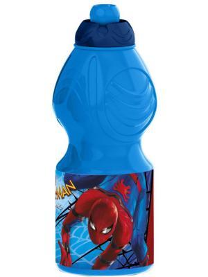 Бутылка пластиковая (спортивная, фигурная, 400 мл). Человек-паук 2017 Stor. Цвет: синий