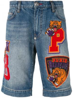 Джинсовые шорты с вышивкой Philipp Plein. Цвет: синий