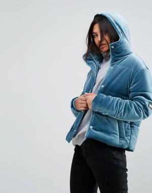 Puffa Бархатная оверсайз-куртка с капюшоном. Цвет: синий