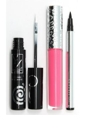 Промо-набор  декоративной косметики YZ(подводка для глаз 2 шт +блеск губ) ИЛЛОЗУР. Цвет: розовый, прозрачный, черный
