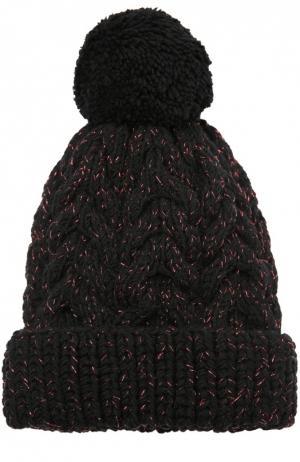 Шерстная шапка с помпоном 7II. Цвет: черный