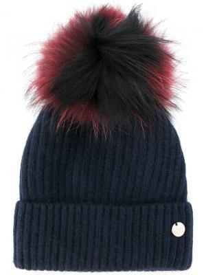 Вязаная шапка со съемным помпоном Yves Salomon. Цвет: синий