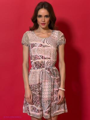 Платье Ginger and Soul. Цвет: серый, коричневый, розовый