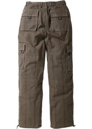 Прямые брюки карго свободного кроя loose fit, низкий + высокий рост (U S) (в клетку) bonprix. Цвет: в клетку